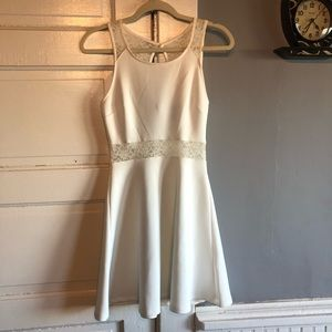 Classy Forever 21 White Dress with Lace. Size S.